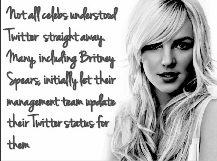 Slide fom Stephen Davies presentation about celebrities use of social media. Image features Britney Spears.