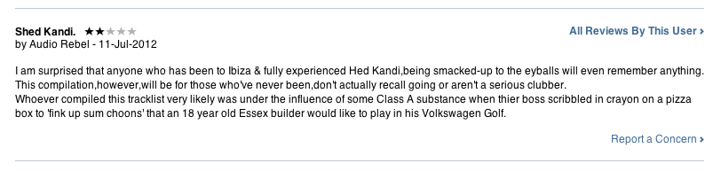 Grab of review of Hed Kandi compilation from iTunes UK