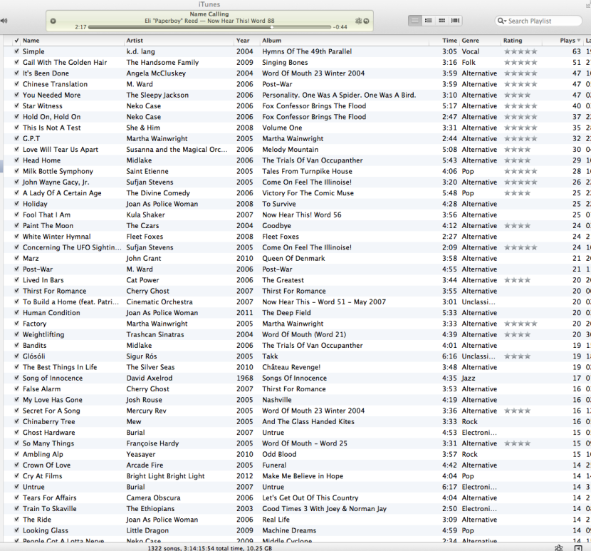 Screengrab of iTunes Playlist of tracks from Word Magazine CDs