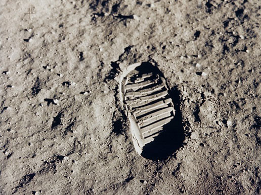 Footprint on the moon. Neil Armstrong.