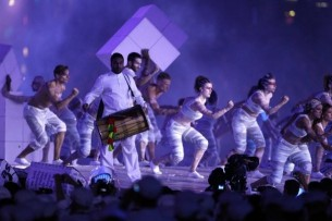 Image from performance of Kate Bush track at 2012 Olympic Closing Ceremony