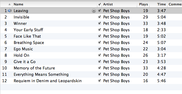 Screengrab from iTunes showing playcounts of Pet Shop Boys Elysium album