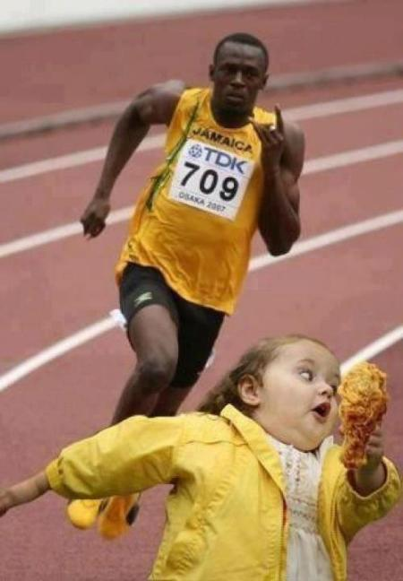 Usain Bolt chases girl with Bubbles