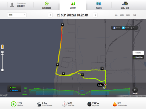 A run along Lake Michigan as tracked by Nike+ App