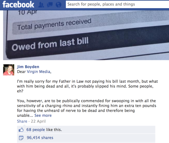 Grab from Facebook about Virgin Media bill for deceased man