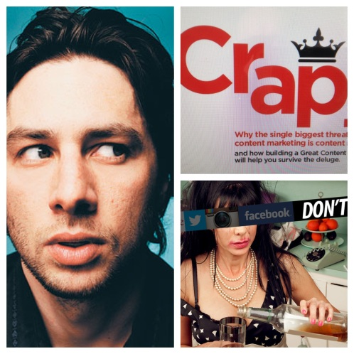 Images of Zack Braff, a supposedly embarrassing intenet photo and a screenshot of a presentation about 'crap' in content marketing.