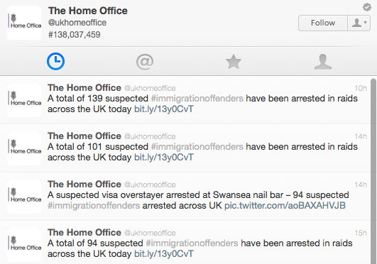 UK Home Office twitter